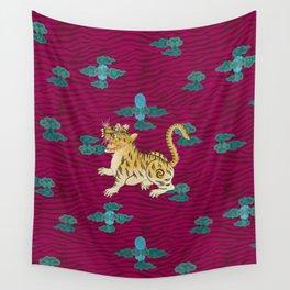 FOO TIGER ON MAGENTA Wall Tapestry