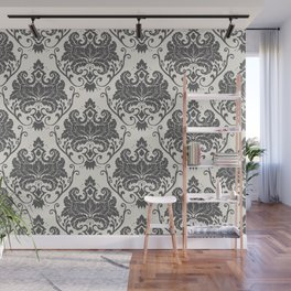 Luxury Floral Damask Pattern – Neutral Dark Gray and Cream Wall Mural