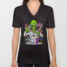 Alien Psychedelic Scientist Unisex V-Neck