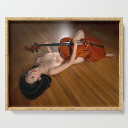 0149-JC Nude Cellist with Her Cello and Bow Naked Young Woman Musician Art Sexy Erotic Sweet Sensual Serving Tray