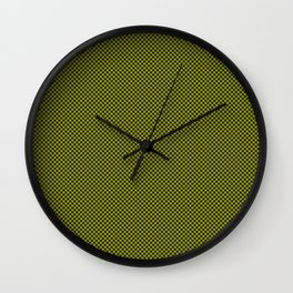 Houndstooth Black & Poison Green small Wall Clock