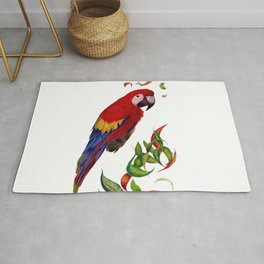 red parrot with rainbow leaves Rug