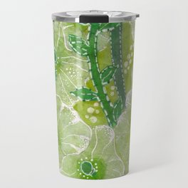 Hollyhock Mallows, Summer Flowers, Floral Art, Green version Travel Mug