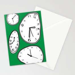 Clocks Green Stationery Cards