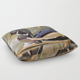 Wood Duck Water Foul Acrylic Painting Floor Pillow