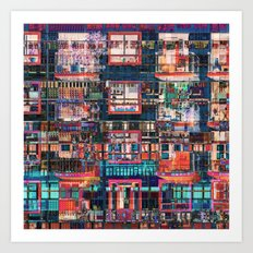 Colorful Buildings Collage Art Print