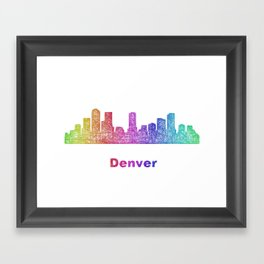 Rainbow Denver skyline Framed Art Print