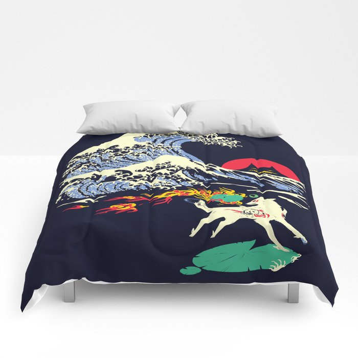 The Great Wave off Oni Island Comforters