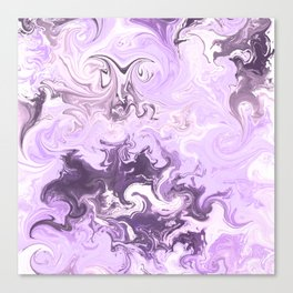 Abstract modern lavender burgundy watercolor marble pattern Canvas Print