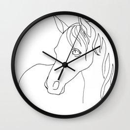 Horse, line drawing Wall Clock