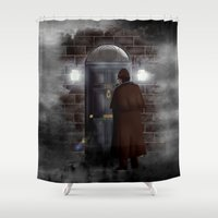 221b Shower Curtains featuring Haunted sherlock holmes house 221b iPhone 4 4s 5 5c, pillow case, mugs and tshirt by Three Second