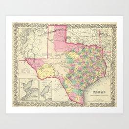 Vintage Map of Texas (1856) Art Print