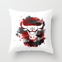 chicago bulls Throw Pillows featuring Bulls Splatter by OhMyGod, SoGood!