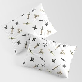 Kunai & Shuriken Japanese Ninja Design Pattern Pillow Sham