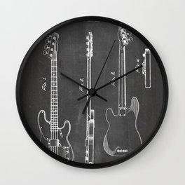 Bass Guitar Patent - Bass Guitarist Art - Black Chalkboard Wall Clock