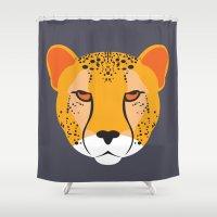 cheetah Shower Curtains featuring cheetah by Tolga Hirsova