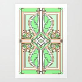 symmetry Green/orange Art Print