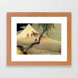 Katsushika Hokusai Boy Viewing Mount Fuji Framed Art Print