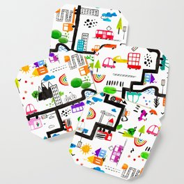 Busy City Streets Kids Watercolor Pattern Coaster