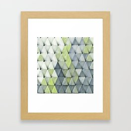 Textured Triangles Lime Gray Framed Art Print