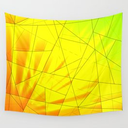 Bright spring rays on yellow and green triangles of irregular shape. Wall Tapestry