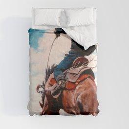 """Vintage Western Painting """"Bucking"""" by N C Wyeth Comforters"""