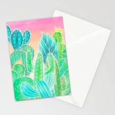 Modern tropical exotic summer cactus illustration pink ombre watercolor Stationery Cards
