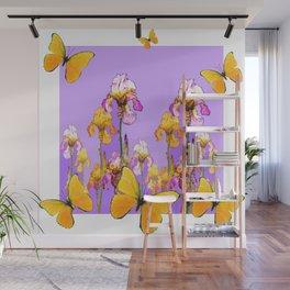 GOLDEN BUTTERFLIES LILAC IRIS GARDEN WHITE ART Wall Mural