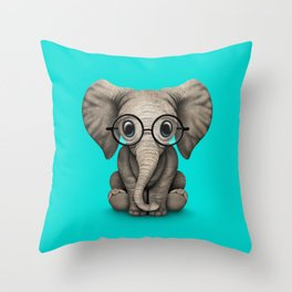 Cute Baby Elephant Calf with Reading Glasses on Blue Throw Pillow