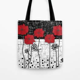 Applique Poppies on black and white background . Tote Bag