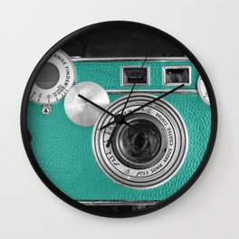 Teal retro vintage phone Wall Clock