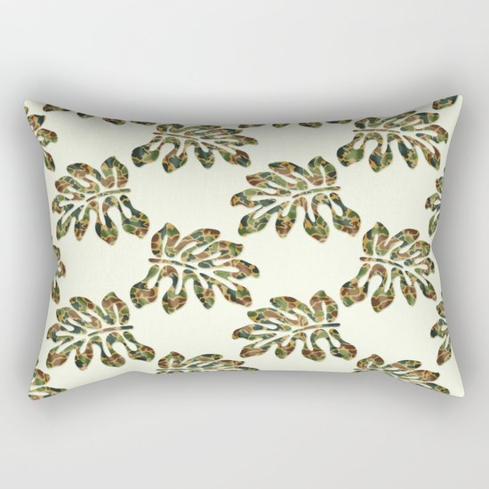 Camouflage Tropical Leaves Rectangular Pillow