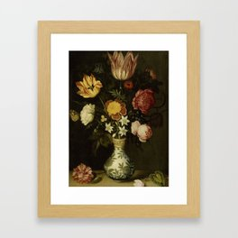 Ambrosius Bosschaert - Still life with flowers in a Wan-Li vase (1619) Framed Art Print