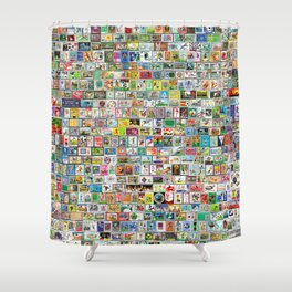 Soccer Stamps Shower Curtain