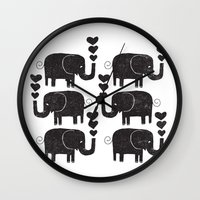 elephants Wall Clocks featuring ELEPHANTS by Matthew T. Wilson