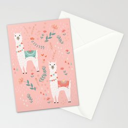 Lovely Llama on Pink Stationery Cards