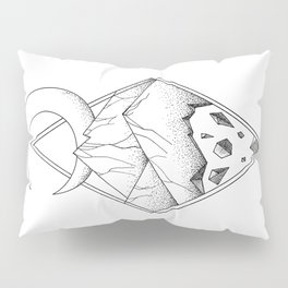 Geometric mountain in a diamonds with moon (tattoo style - black and white) Pillow Sham