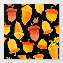 Acorns - Black Canvas Print