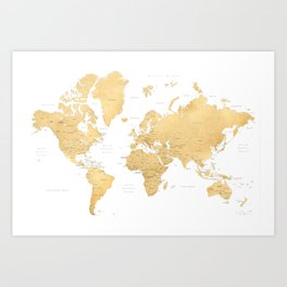Gold world map with countries and states labelled Art Print