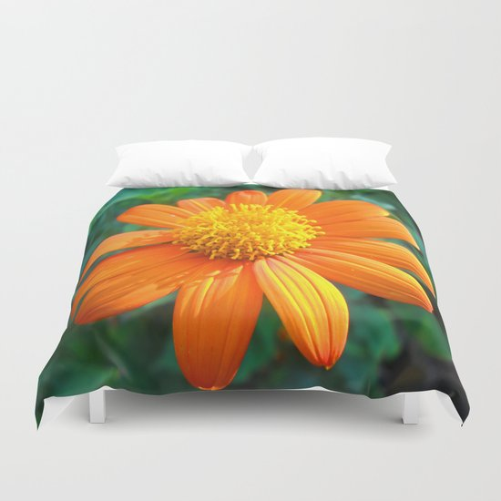Orange Flower. On Front Page. Duvet Cover