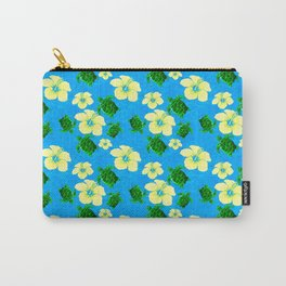 Yellow Hibiscus Hawaiian Pattern Carry-All Pouch