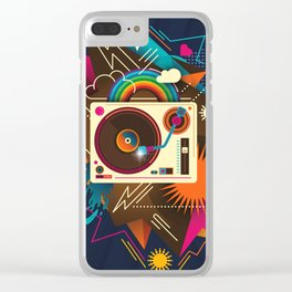 Goodtime Party Music Retro Rainbow Turntable Graphic Clear iPhone Case