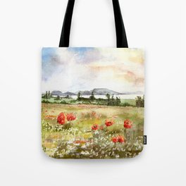 Poppies at the Lake Balaton Tote Bag