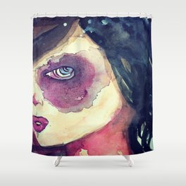 purple eyed girl Shower Curtain