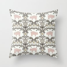 pig damask Throw Pillow