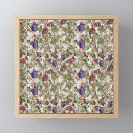 Floral with Watering Can Framed Mini Art Print