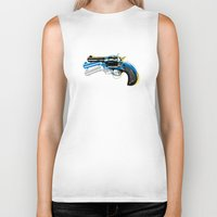 gun Biker Tanks featuring gun by mark ashkenazi