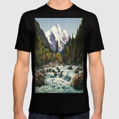 Mountains Forest Rocky River Mens Fitted Tee Black 2X-LARGE