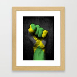 Jamaican Flag on a Raised Clenched Fist Framed Art Print