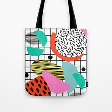 Posse - 1980's style throwback retro neon grid pattern shapes 80's memphis design neon pop art Tote Bag